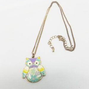 Cute Vintage Pastel Owl Enamel Necklace